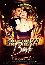 Birthday Bash – Flyer PSD Template + Facebook Cover