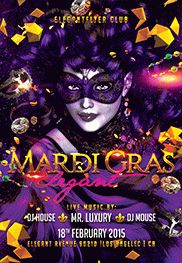 Flyer for Elegant Mardi Gras Night