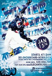 Snowboard Party – Flyer PSD Template + Facebook Cover