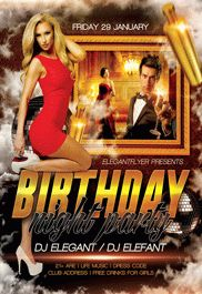 Birthday Night Party – Flyer PSD Template