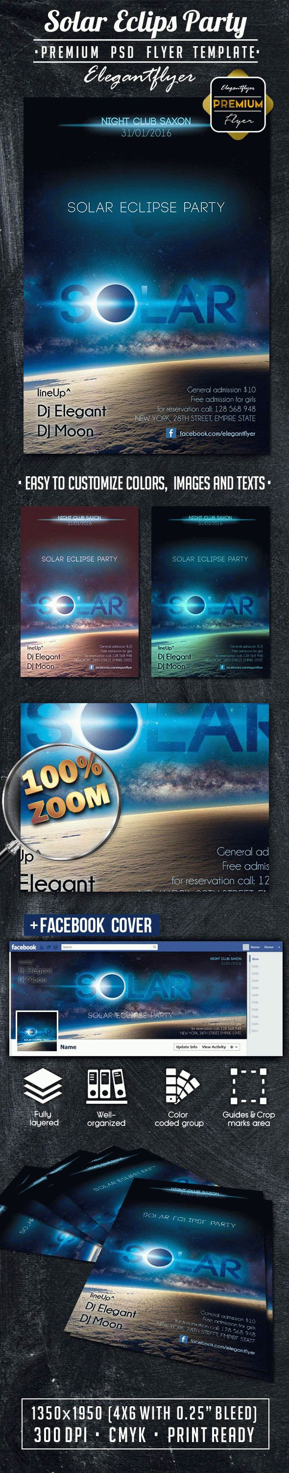 Solar Eclipse Party – Flyer PSD Template + Facebook Cover
