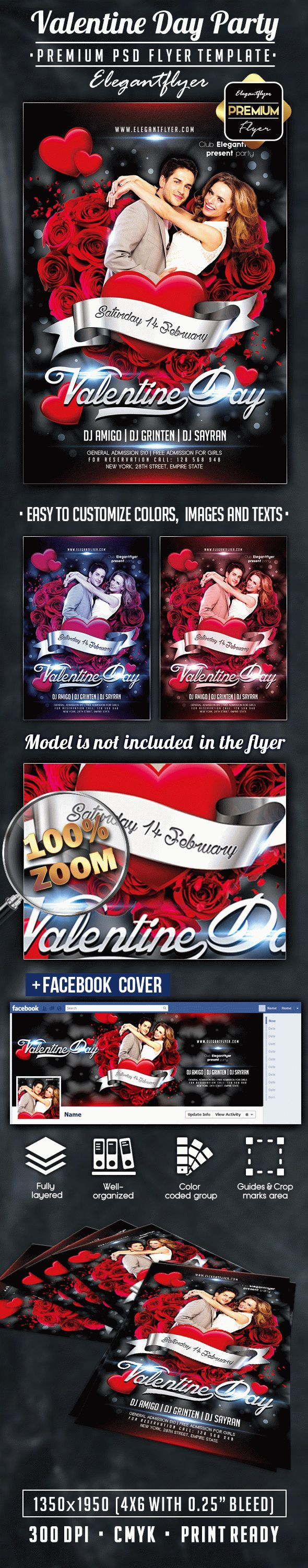 Valentine Day Party – Flyer PSD Template + Facebook Cover
