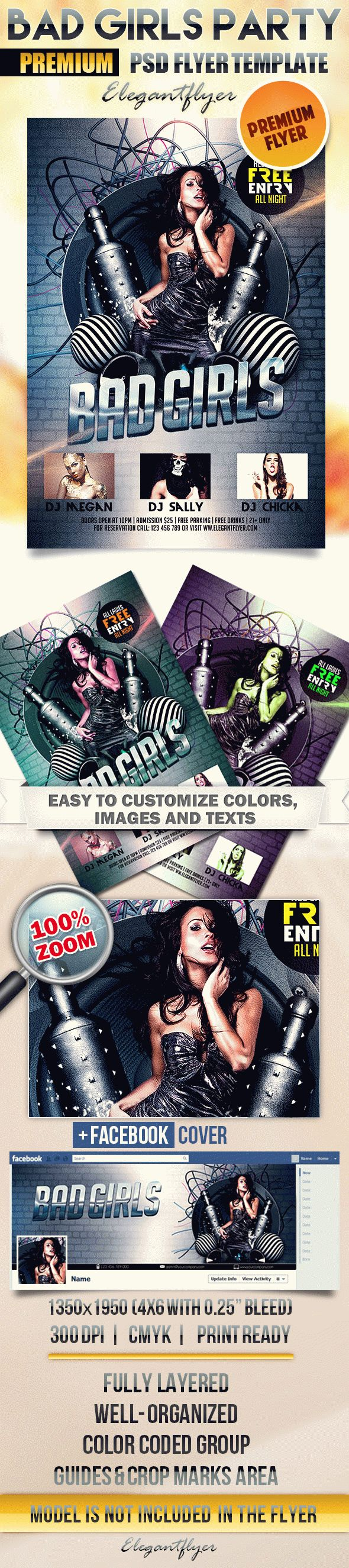 Bad Girls Party – Flyer PSD Template + Facebook Cover