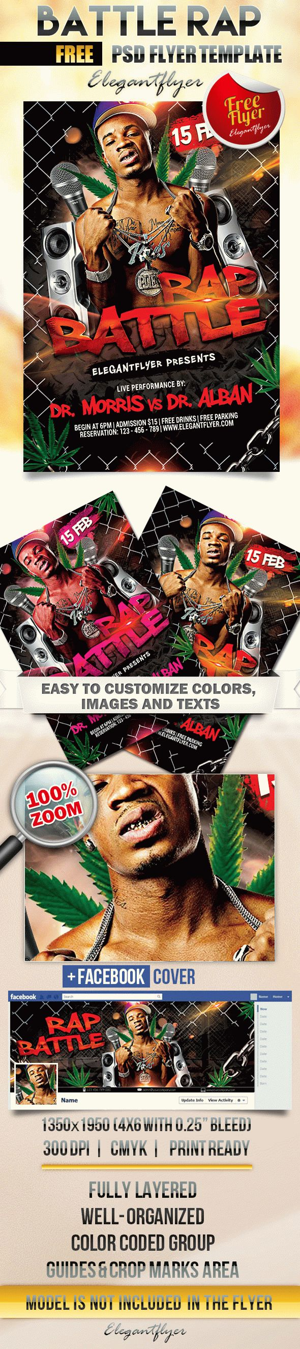 Battle Rap – Free Flyer PSD Template + Facebook Cover