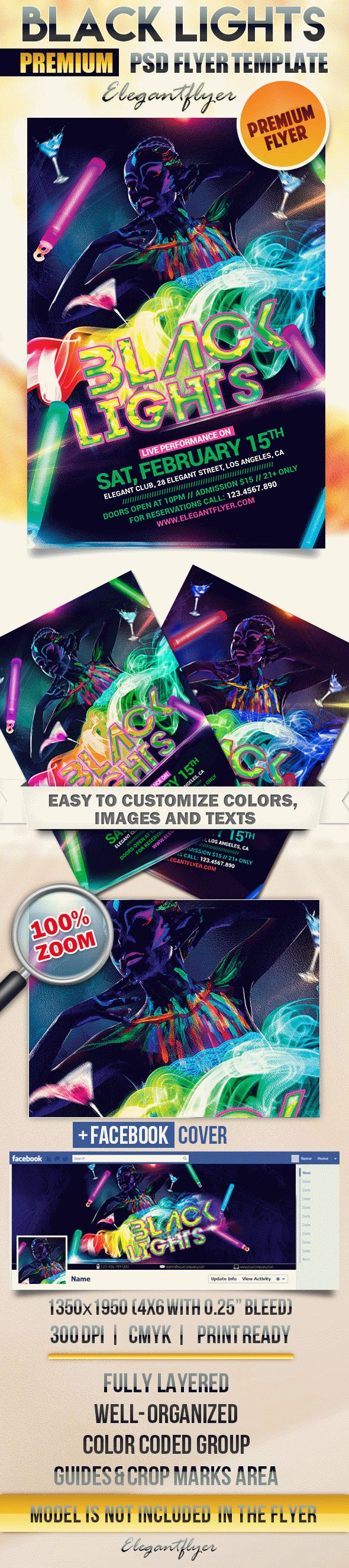 Black Lights – Flyer PSD Template