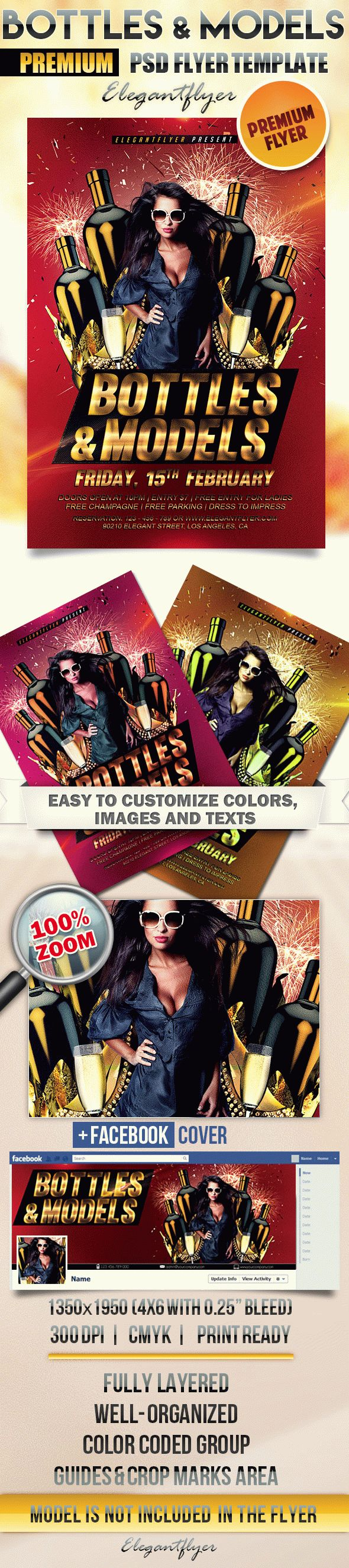 Bottles and Models – Flyer PSD Template