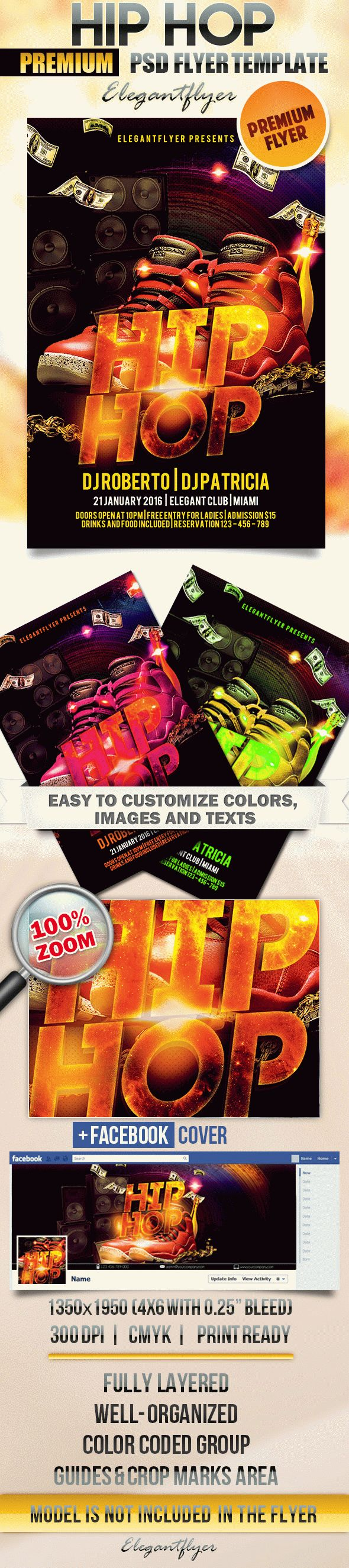 Hip Hop – Flyer PSD Template + Facebook Cover