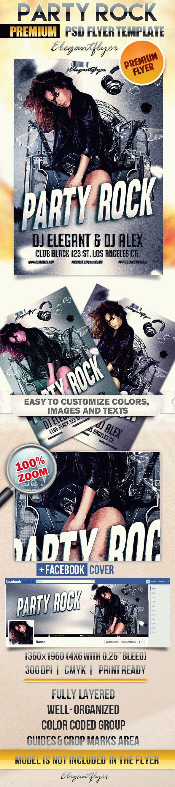 Party Rock – Flyer PSD Template + Facebook Cover
