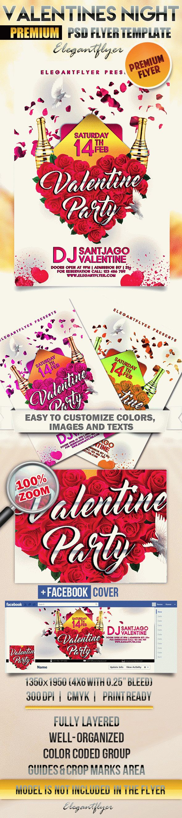 Valentines Party Night – Flyer PSD Template