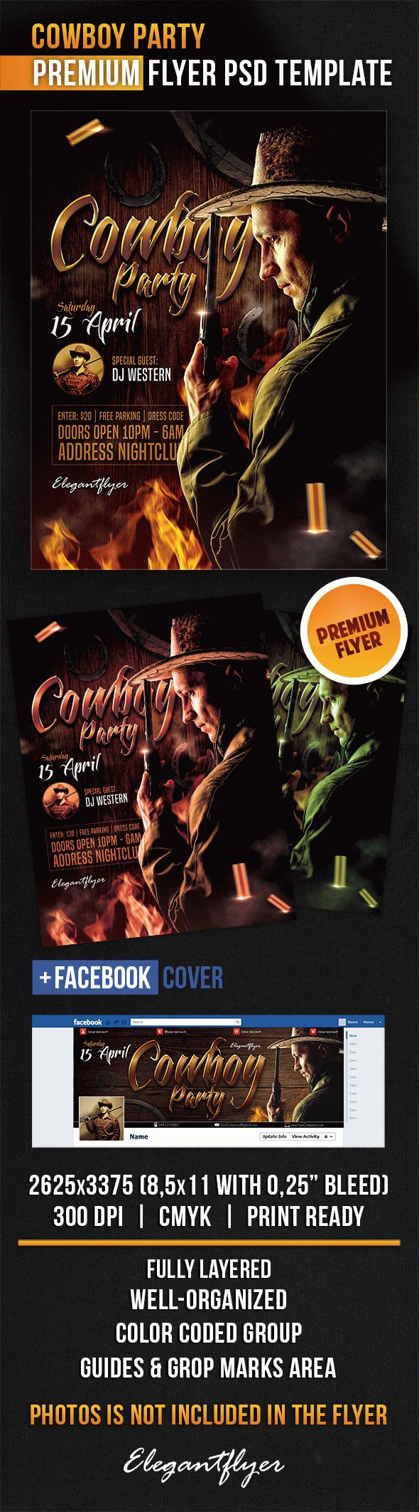 Cowboy Party – Flyer PSD Template