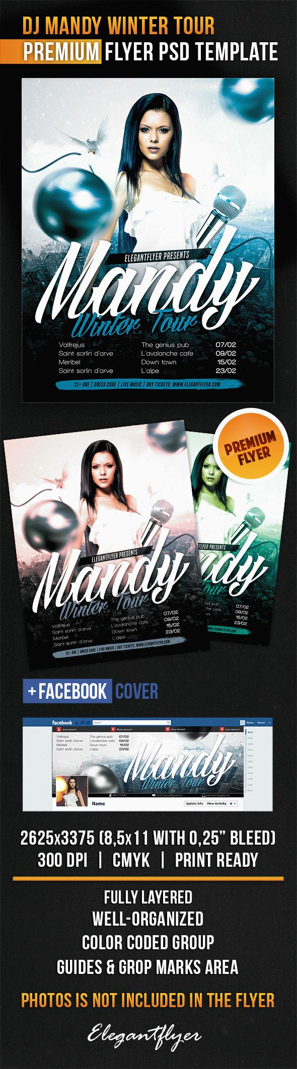 DJ Mandy Winter Tour – Flyer PSD Template + Facebook Cover