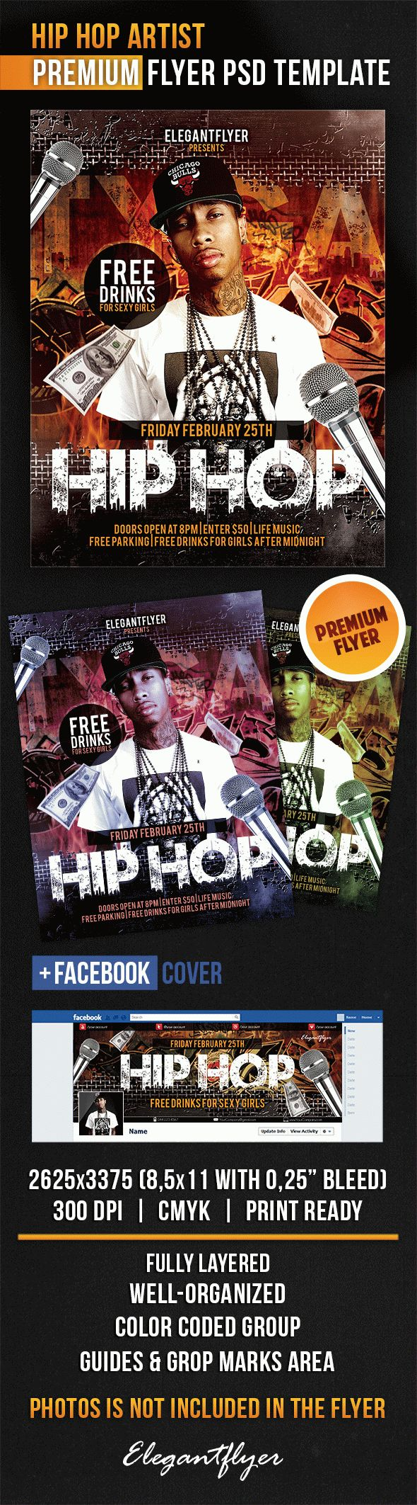 Hip Hop Artist – Flyer PSD Template + Facebook Cover