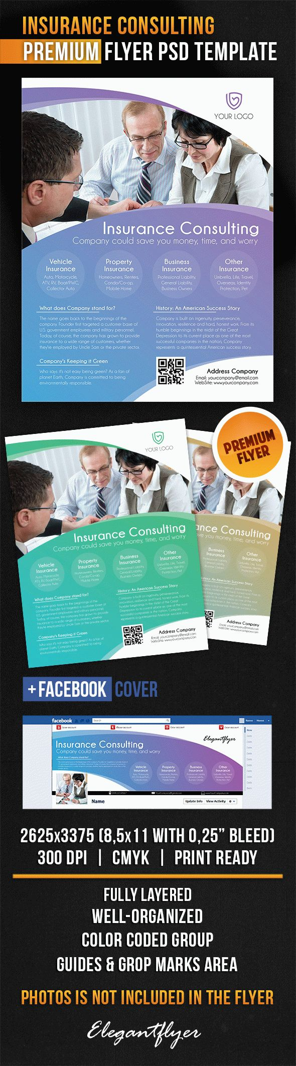 Insurance Consulting – Flyer PSD Template + Facebook Cover