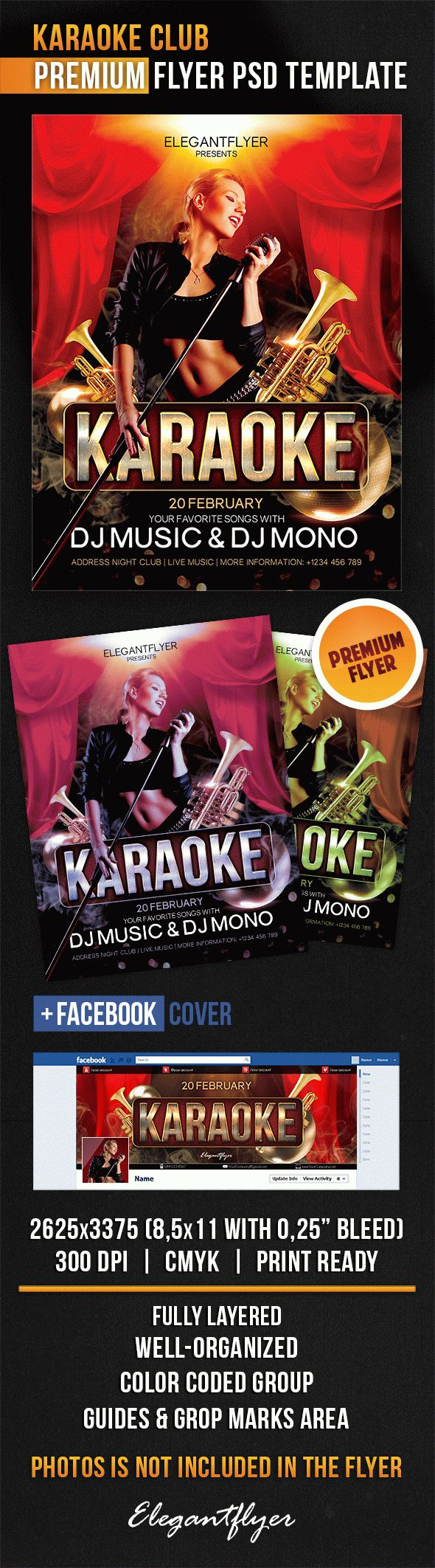 Karaoke Club – Flyer PSD Template + Facebook Cover