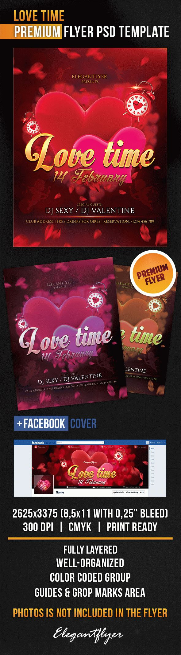 Love Time – Flyer PSD Template + Facebook Cover