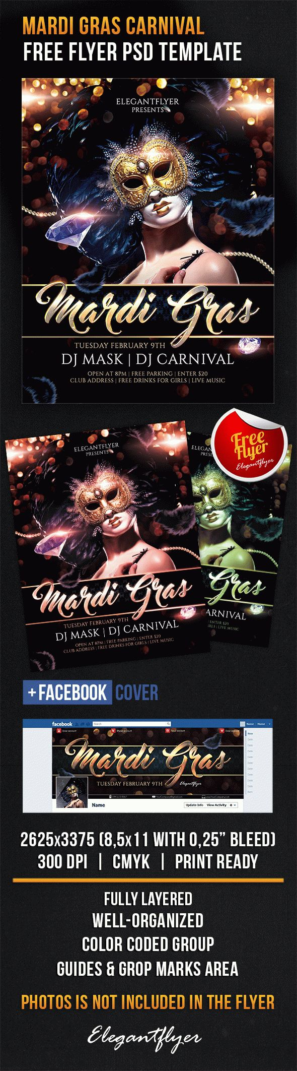 Mardi Gras Carnival – Free Flyer PSD Template + Facebook Cover