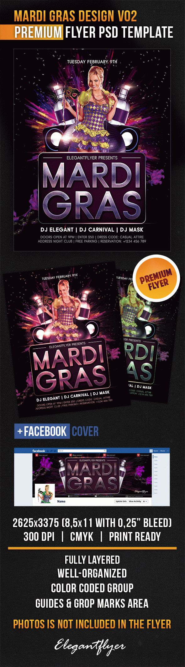 Mardi Gras Design V02 – Flyer PSD Template + Facebook Cover
