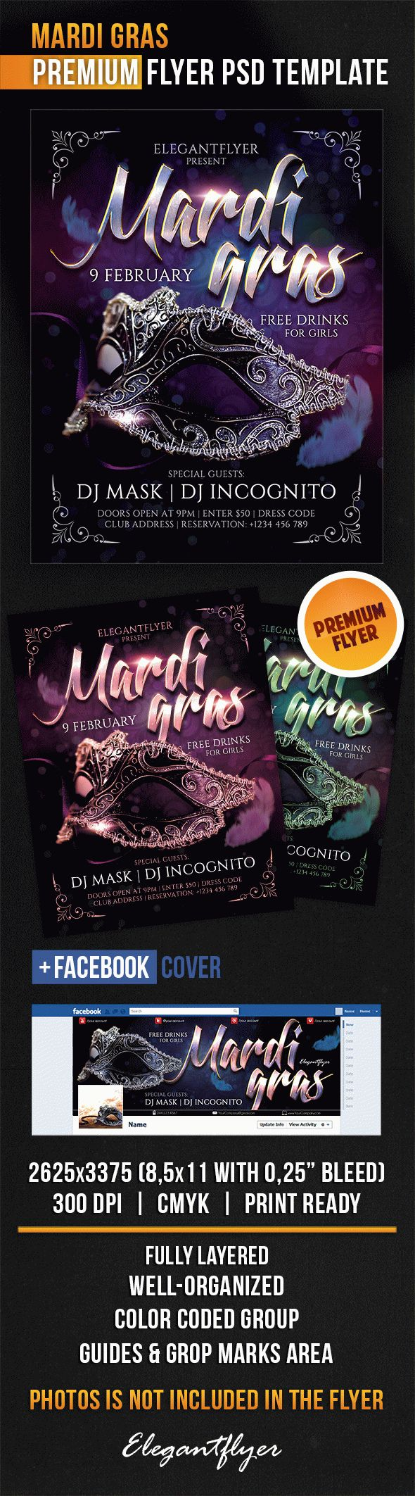 Mardi Gras – Flyer PSD Template + Facebook Cover