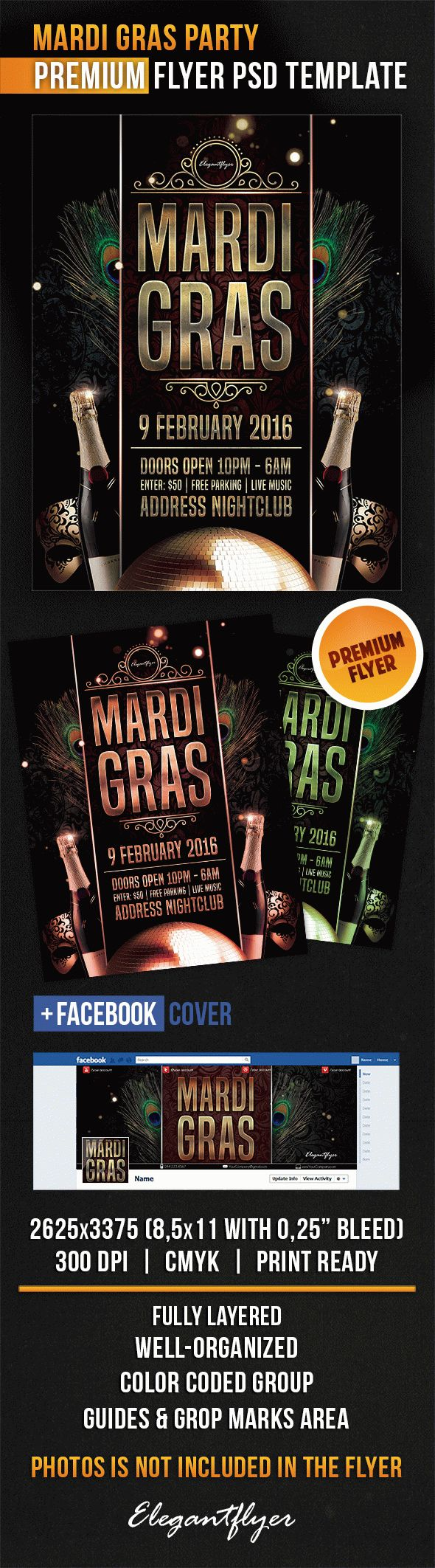 Flyer for Party City Mardi Gras