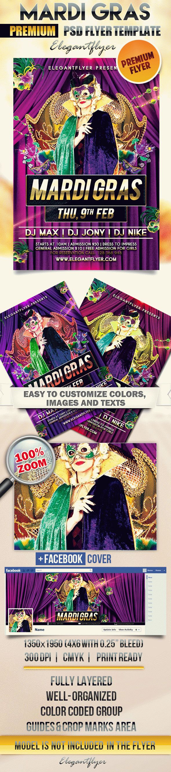 Mardi Gras Night – Flyer PSD Template