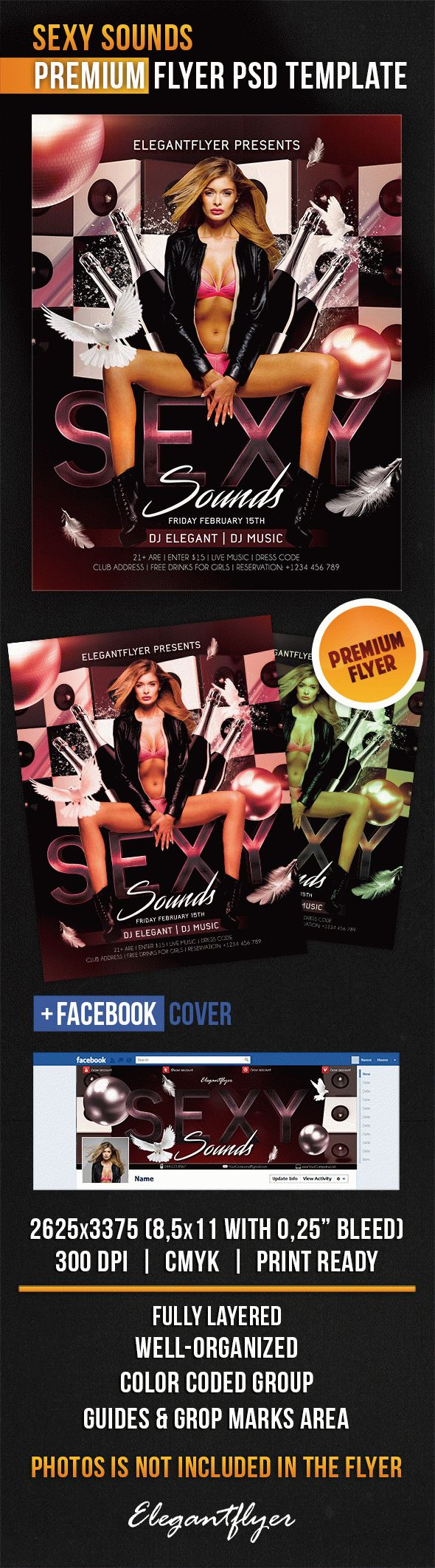 Sexy Sounds – Flyer PSD Template + Facebook Cover
