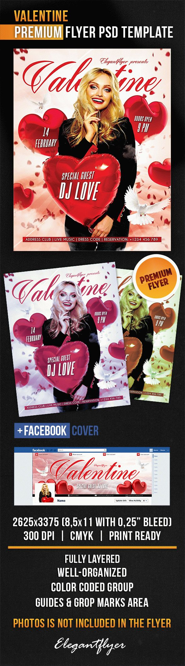 Valentine – Flyer PSD Template + Facebook Cover