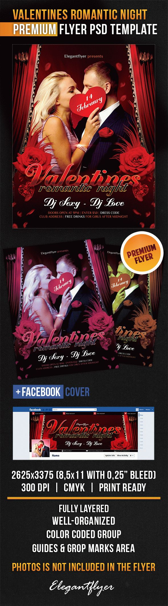 Valentines Romantic Night – Flyer PSD Template + Facebook Cover