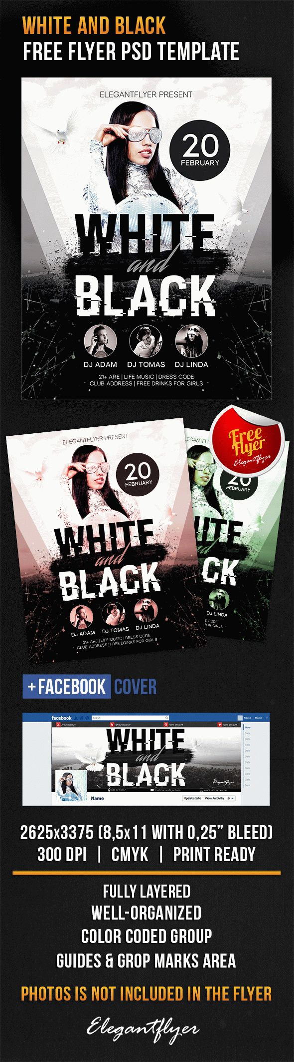 White And Black – Free Flyer PSD Template + Facebook Cover