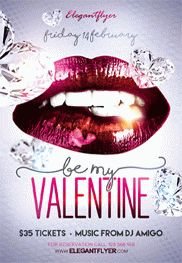 Be My Valentine Party V02 – Flyer PSD Template + Facebook Cover