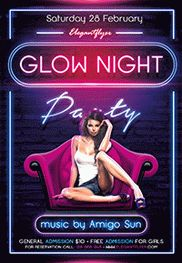 Glow Night Party – Flyer PSD Template