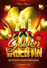 Golden Valentin – Flyer PSD Template