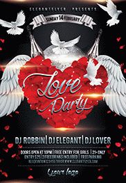 Party for Love Heart PSD Template