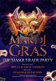 Flyer for Masquerade Mardi Gras Party