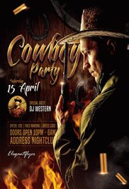 Cowboy Party – Flyer PSD Template + Facebook Cover
