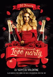 VDAY Party – Flyer PSD Template + Facebook Cover