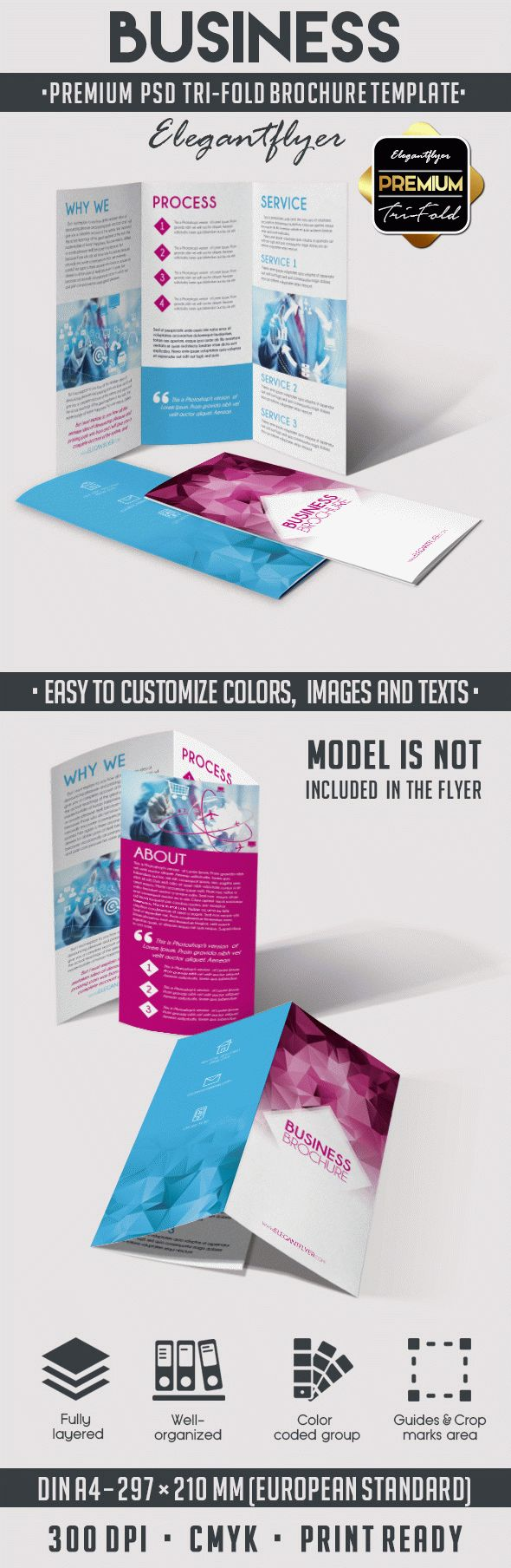 Business tri fold brochure psd template by elegantflyer for Simple tri fold brochure template