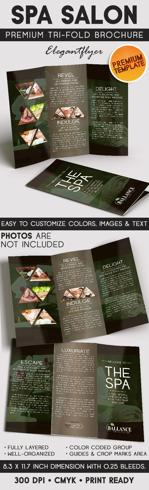 Spa salon tri fold brochure psd template by elegantflyer for Spa brochure templates free