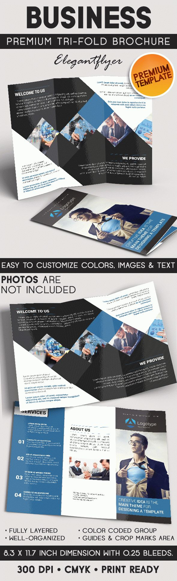 Business Brochure – Tri-Fold Brochure PSD Template