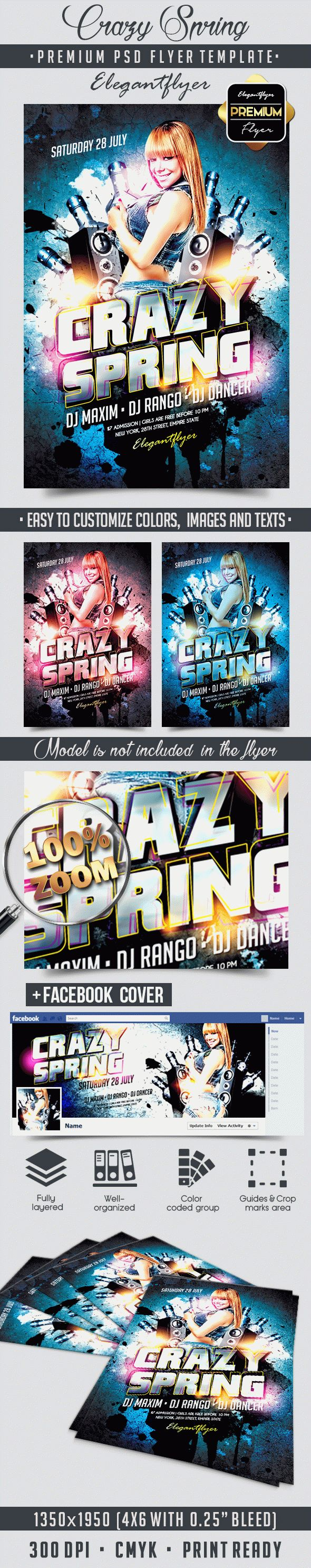 Crazy spring – Flyer PSD Template + Facebook Cover