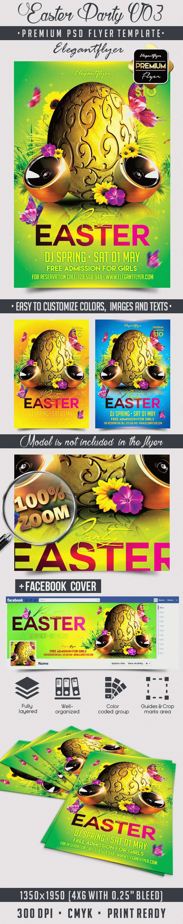 Easter Party V03 – Flyer PSD Template + Facebook Cover