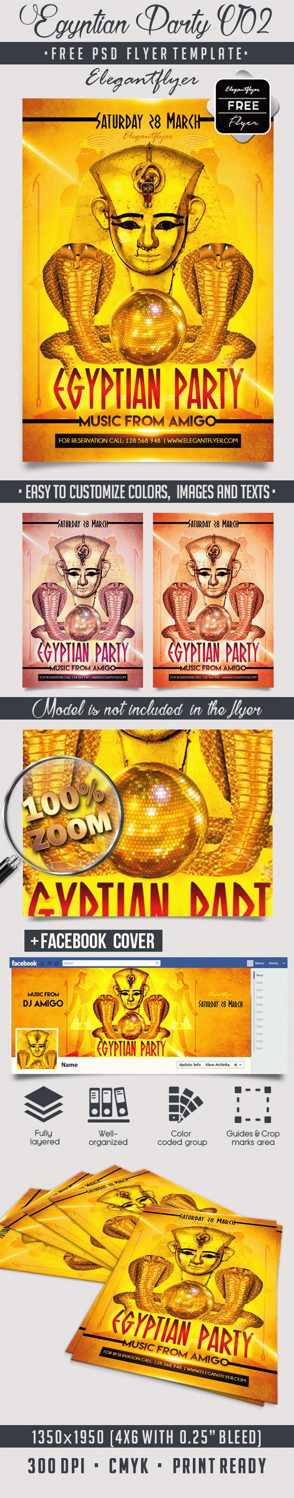 Egyptian Party V02 – Free Flyer PSD Template + Facebook Cover