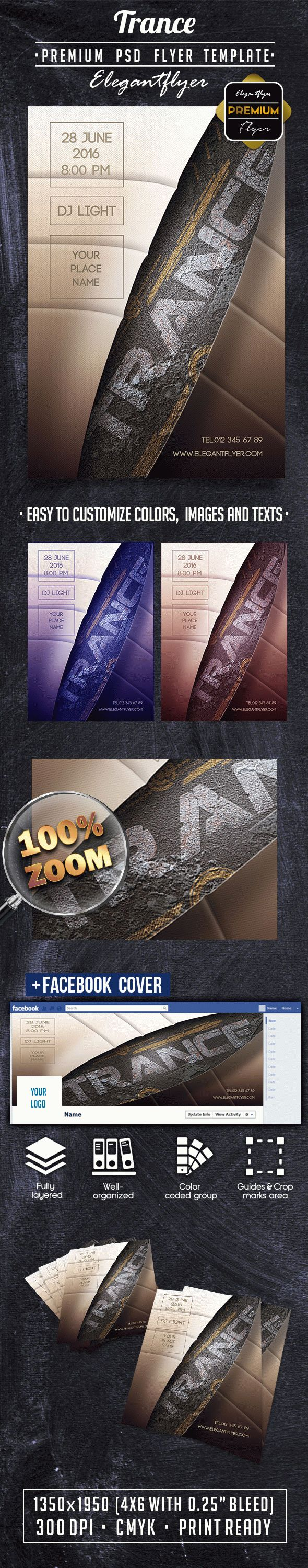 Trance PREMIUM Flyer PSD Template + Facebook Cover