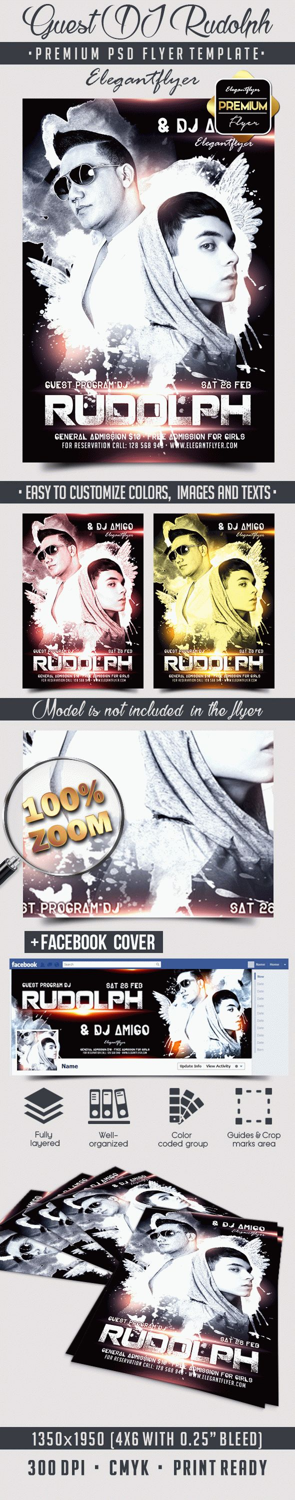 Guest DJ Rudolph – Flyer PSD Template + Facebook Cover