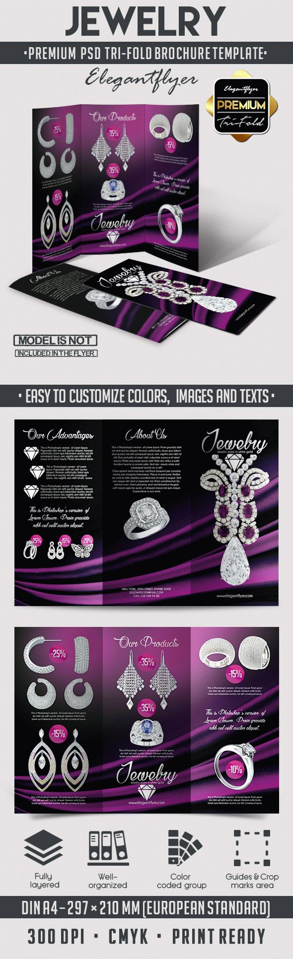 Jewelry – Tri-Fold Brochure  PSD Template