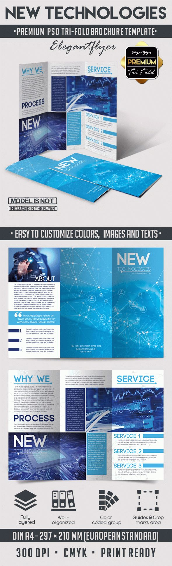 New Technologies – Tri-Fold Brochure PSD Template