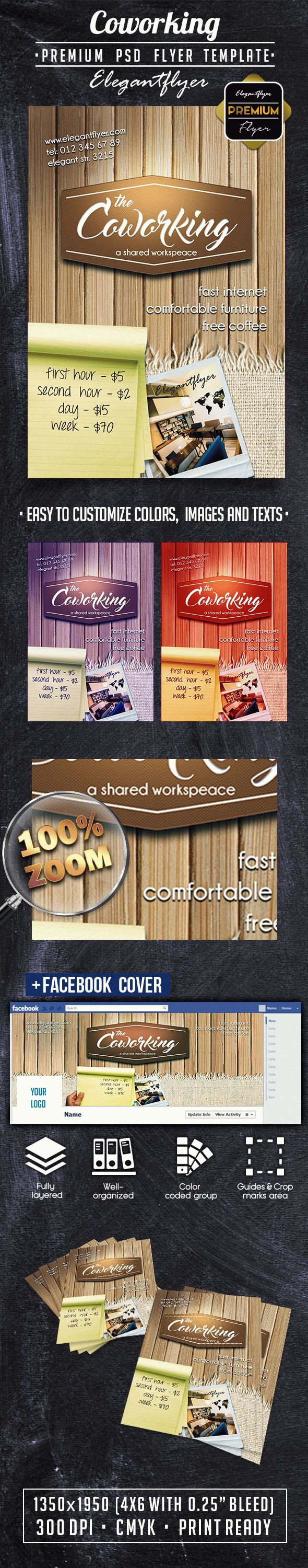Coworking – Premium Flyer PSD Template + Facebook Cover