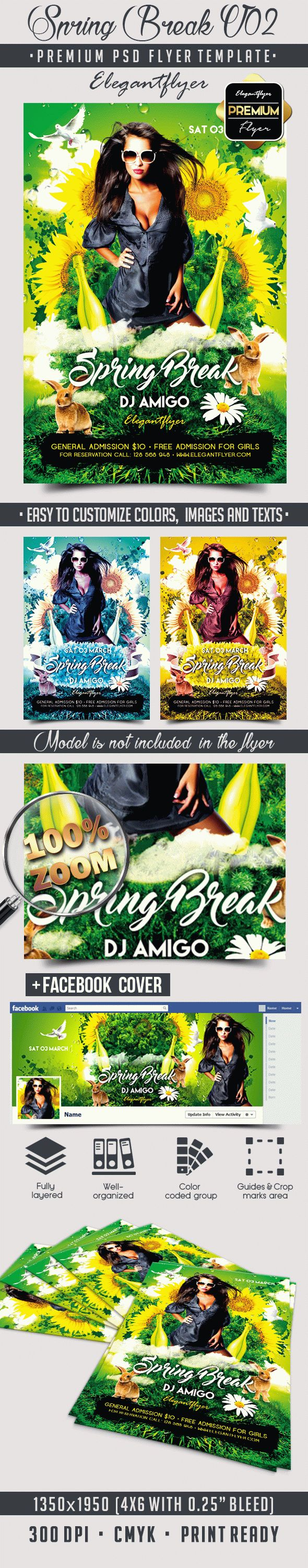Spring Break V02 – Flyer PSD Template + Facebook Cover