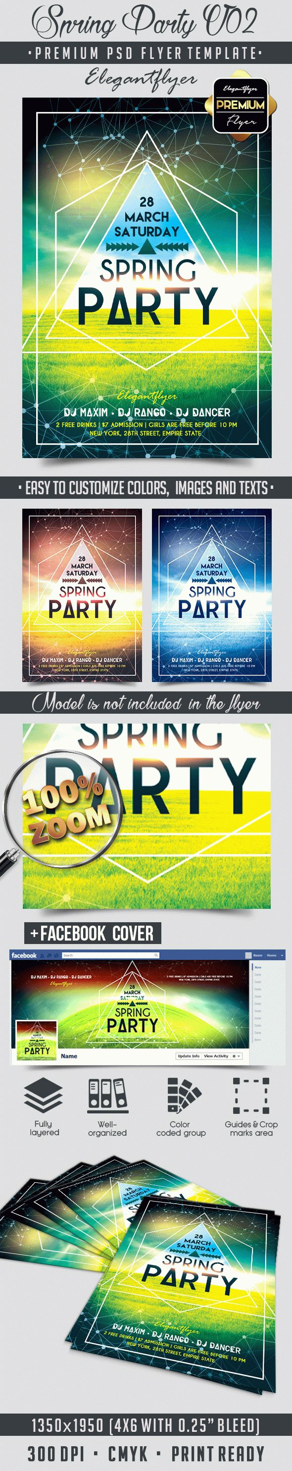 Spring Party V02 – Flyer PSD Template + Facebook Cover