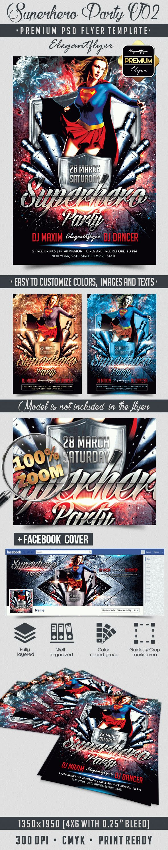 Superhero Party V02 – Flyer PSD Template + Facebook Cover