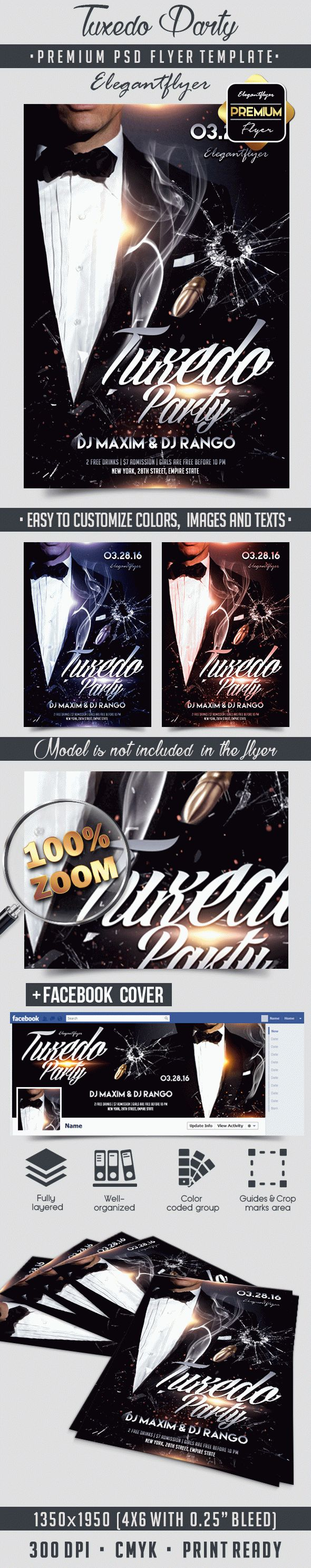 Tuxedo Party – Flyer PSD Template + Facebook Cover
